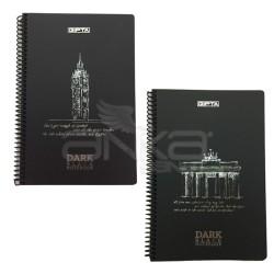Gıpta - Gıpta Dark Black Notebook Spiralli Çizgisiz 50 Yaprak 16x24cm 2673