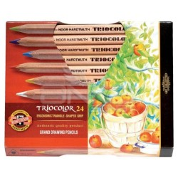 Koh-i-Noor - Koh-i-Noor Tricolor Grand Drawing Pencils 24lü Kuru Boya Seti (3154)