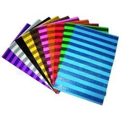 Lino Karadeniz - Lino Çizgi Desenli Simli Kağıt A4 10 Renk