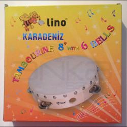 Lino Karadeniz - Lino Tamburin 8inch Derili 6 Zilli