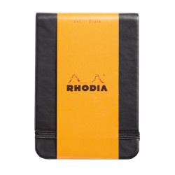 Rhodia - Rhodia Boutique Webnotebook Italyan Deri Kısa Kenarlı Ciltli(Üstten) Çizgili Defter Siyah Sert Kapak