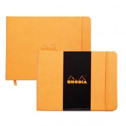 Rhodia - Rhodia Boutique Webnotebook Italyan Deri Kısa Kenarlı Ciltli(Yandan) Çizgisiz Defter Turuncu Sert Kapak