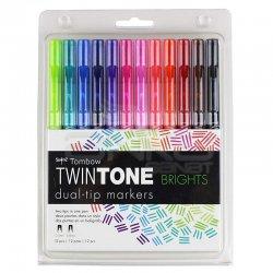 Tombow - Tombow TwinTone Çift Taraflı İşaretleme Kalemi Parlak Renkler 12li
