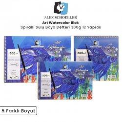 Alex Schoeller - Alex Schoeller Art Watercolor Pad Spiralli Sulu Boya Defteri 300g 12 Yaprak