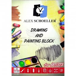 Alex Schoeller - Alex Schoeller Drawing and Painting Block Dokulu Resim Defteri 220g 15 Yaprak 35x50cm