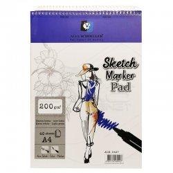 Alex Schoeller - Alex Schoeller Ekstra Beyaz Spiralli Sketch Marker Pad 200g 40 Yaprak (1)