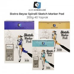 Alex Schoeller Ekstra Beyaz Spiralli Sketch Marker Pad 200g 40 Yaprak - Thumbnail