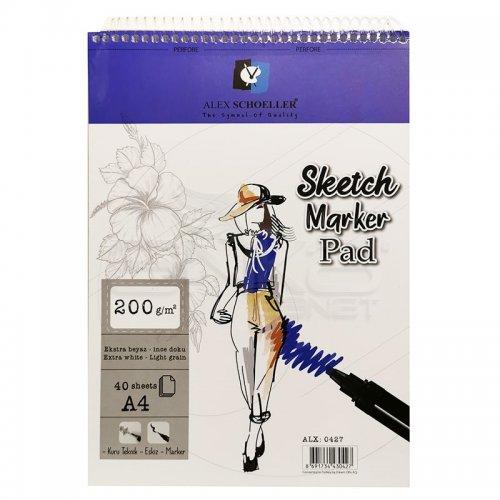 Alex Schoeller Ekstra Beyaz Spiralli Sketch Marker Pad 200g 40 Yaprak