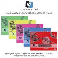 Alex Schoeller - Alex Schoeller İnce Grenli Resim Defteri 25x35cm 120g 25 Yaprak