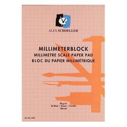 Alex Schoeller Milimetrik Blok Kırmızı 80g 20 Yaprak - Thumbnail