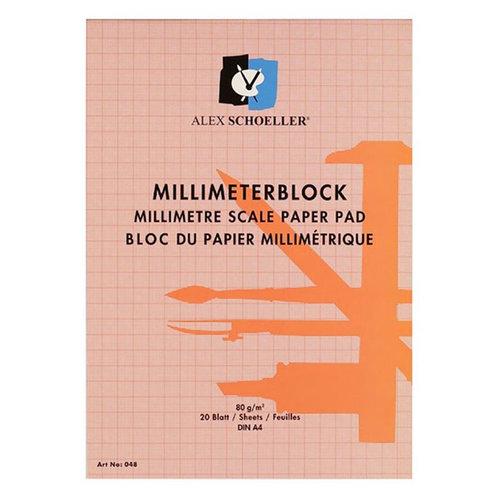 Alex Schoeller Milimetrik Blok Kırmızı 80g 20 Yaprak