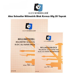 Alex Schoeller - Alex Schoeller Milimetrik Blok Kırmızı 80g 20 Yaprak
