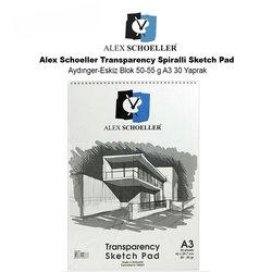 Alex Schoeller - Alex Schoeller Transparency Spiralli Sketch Pad Aydınger-Eskiz Blok 50-55 g A3 30 Yaprak