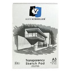Alex Schoeller Transparency Spiralli Sketch Pad Aydınger-Eskiz Blok 50-55 g A3 30 Yaprak - Thumbnail