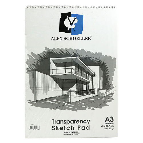 Alex Schoeller Transparency Spiralli Sketch Pad Aydınger-Eskiz Blok 50-55 g A3 30 Yaprak
