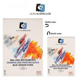 Alex Schoeller - Alex Schoeller Teknik Çizim Spiralli Resim Bloğu 165g 15 Yaprak