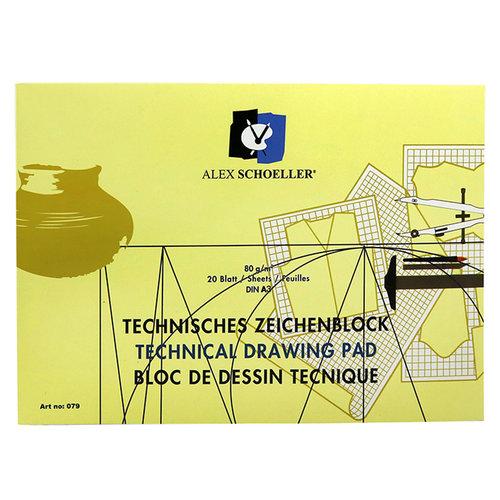 Alex Schoeller Yatay Teknik Çizim Bloğu 80g 20 Yaprak