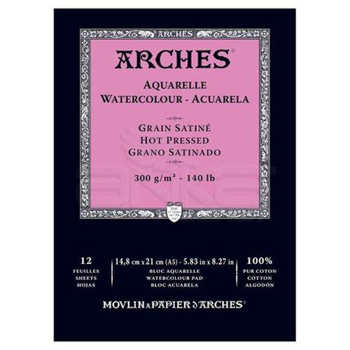 Arches Sulu Boya Blok Defter Hot Pressed 300g 12 Yaprak