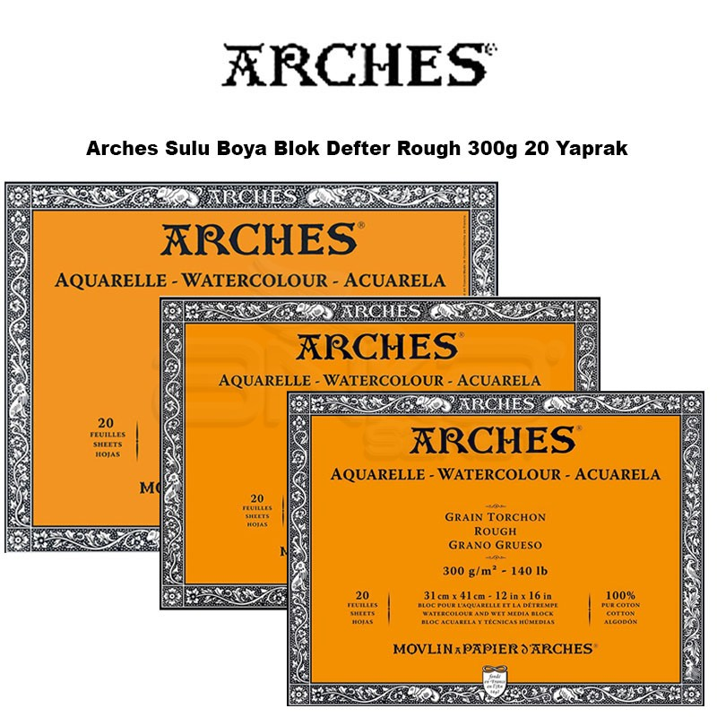 Arches Sulu Boya Blok Defter Rough 300g 20 Yaprak Sulu Boya Blok