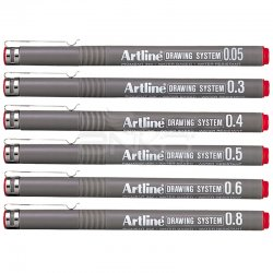 Artline - Artline Drawing System Teknik Çizim Kalemi Kırmızı