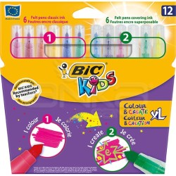 Bic - Bic Kids Colour and Create XL 12'li Keçeli Kalem Seti (1)