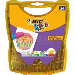 Bic - Bic Kids Yağlı Pastel Plastik Kutulu 24 Renk