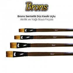 Brons - Brons Sentetik Düz Kesik Uçlu Akrilik ve Yağlı Boya Fırçası