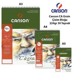Canson CA Grain Çizim Bloğu 224g 30 Yaprak Spiralli - Thumbnail