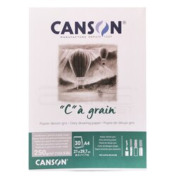 Canson - Canson CA Grain Grey Drawing Paper 30 Yaprak 250g (1)