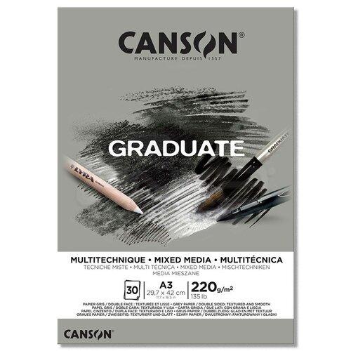 Canson Graduate Mixed Media Grey Çizim Defteri 220g 30 Yaprak