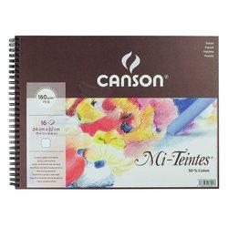 Canson - Canson Mi-Teintes Beyaz Pastel Defteri Spiralli 16 Yaprak 160g (1)