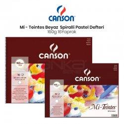 Canson - Canson Mi-Teintes Beyaz Pastel Defteri Spiralli 16 Yaprak 160g