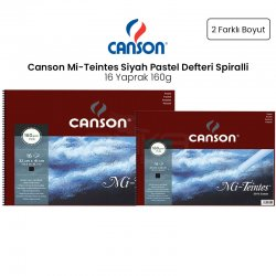 Canson - Canson Mi-Teintes Siyah Pastel Defteri Spiralli 16 Yaprak 160g