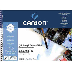 Canson Mix Media Spiralli Çizim Defteri 15 Yaprak - Thumbnail