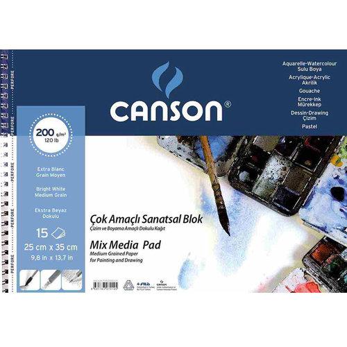 Canson Mix Media Spiralli Çizim Defteri 15 Yaprak 200g