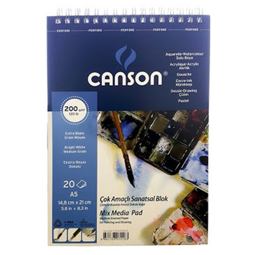 Canson Mix Media Spiralli Çizim Defteri 20 Yaprak 200g