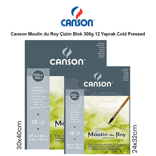 Canson Moulin du Roy Çizim Blok 300g 12 Yaprak Cold Pressed