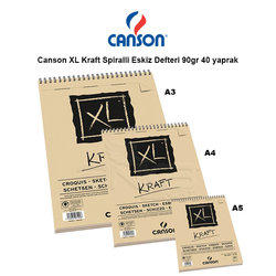 Canson - Canson XL Kraft Spiralli Eskiz Defteri 90g