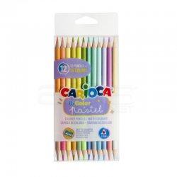 Carioca - Carioca Bicolor Çift Taraflı Kuru Boya Kalemi 3.3mm Pastel Renkler 12li 43309