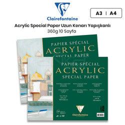 Clairefontaine - Clairefontaine Acrylic Special Paper Akrilik Blok Uzun Kenarı Yapışkanlı 360g 10 Yaprak