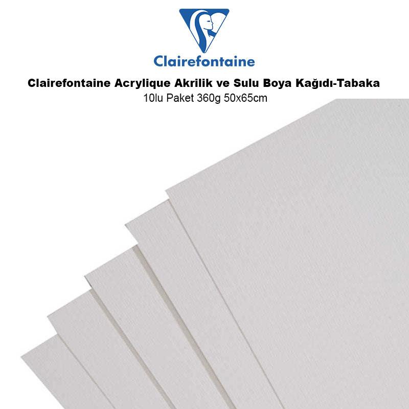Clairefontaine Acrylique Akrilik ve Sulu Boya Kağıdı-Tabaka 360g 10 Adet 50x65cm AC93496 - Clairefontaine Acrylique Akrilik ve Sulu Boya Kağıdı -Tabaka