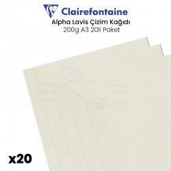 Clairefontaine - Clairefontaine Alpha Lavis Çizim Kağıdı 200g A3 20li Paket
