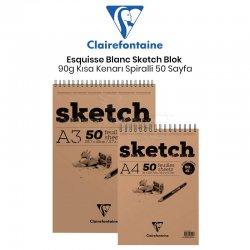 Clairefontaine - Clairefontaine Esquisse Blanc Sketch Blok 90g Kısa Kenarı Spiralli 50 Yaprak