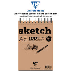 Clairefontaine - Clairefontaine Esquisse Blanc Sketch Blok 90g Kısa Kenarı Spiralli A5 100 Yaprak