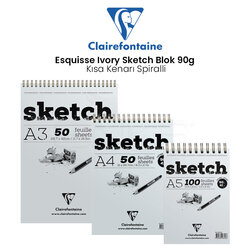 Clairefontaine - Clairefontaine Esquisse Ivory Sketch Blok 90g Kısa Kenarı Spiralli