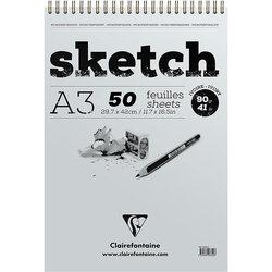 Clairefontaine - Clairefontaine Esquisse Ivory Sketch Blok 90g Kısa Kenarı Spiralli (1)