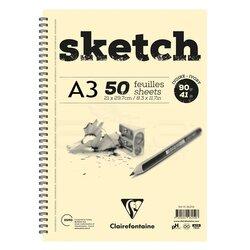 Clairefontaine - Clairefontaine Esquisse Ivory Sketch Blok 90g Uzun Kenarı Spiralli (1)