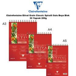 Clairefontaine - Clairefontaine Etival Grain Classic Spiralli Sulu Boya Blok 30 Yaprak 200g