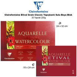 Clairefontaine - Clairefontaine Etival Grain Classic Yapışkanlı Sulu Boya Blok 30 Yaprak 200g