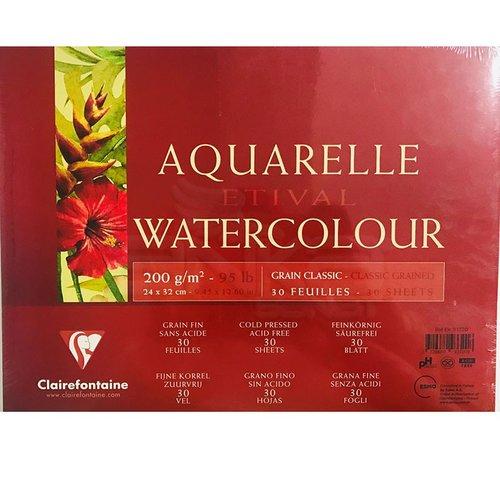 Clairefontaine Etival Grain Classic Yapışkanlı Sulu Boya Blok 30 Yaprak 200g
